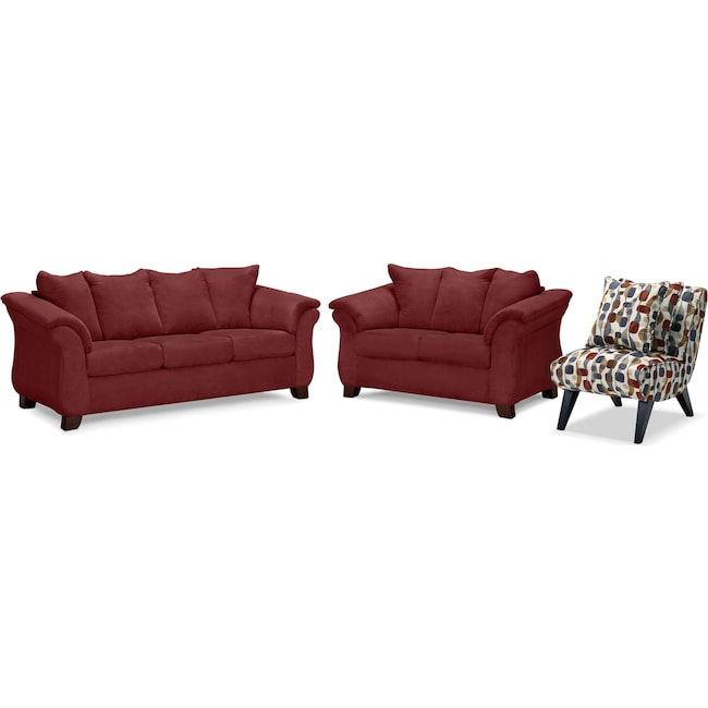 Living Room Furniture - Adrian Sofa, Loveseat and Accent Chair Set - Red
