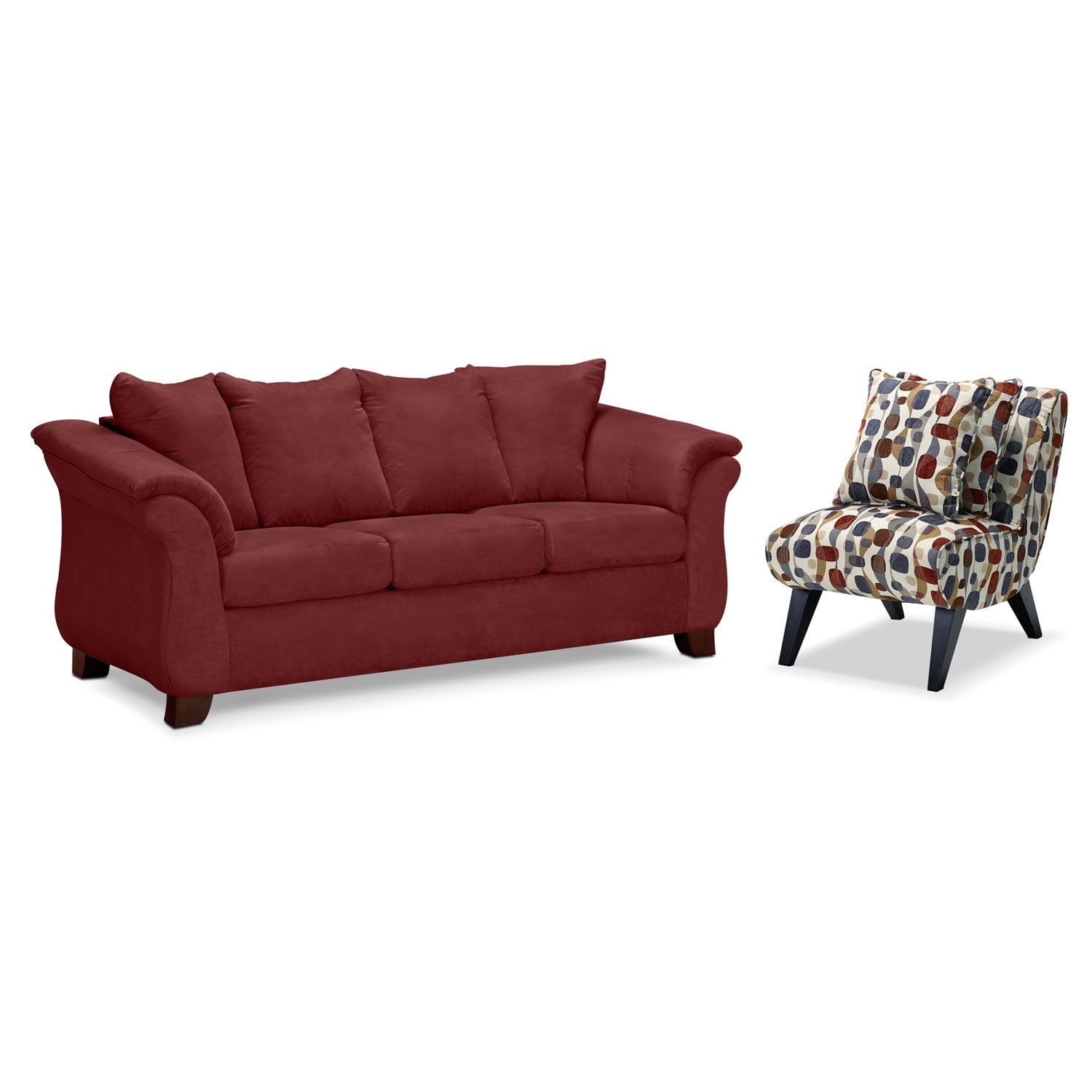 Living Room Furniture - Adrian Red 2 Pc. Living Room w/ Accent Chair
