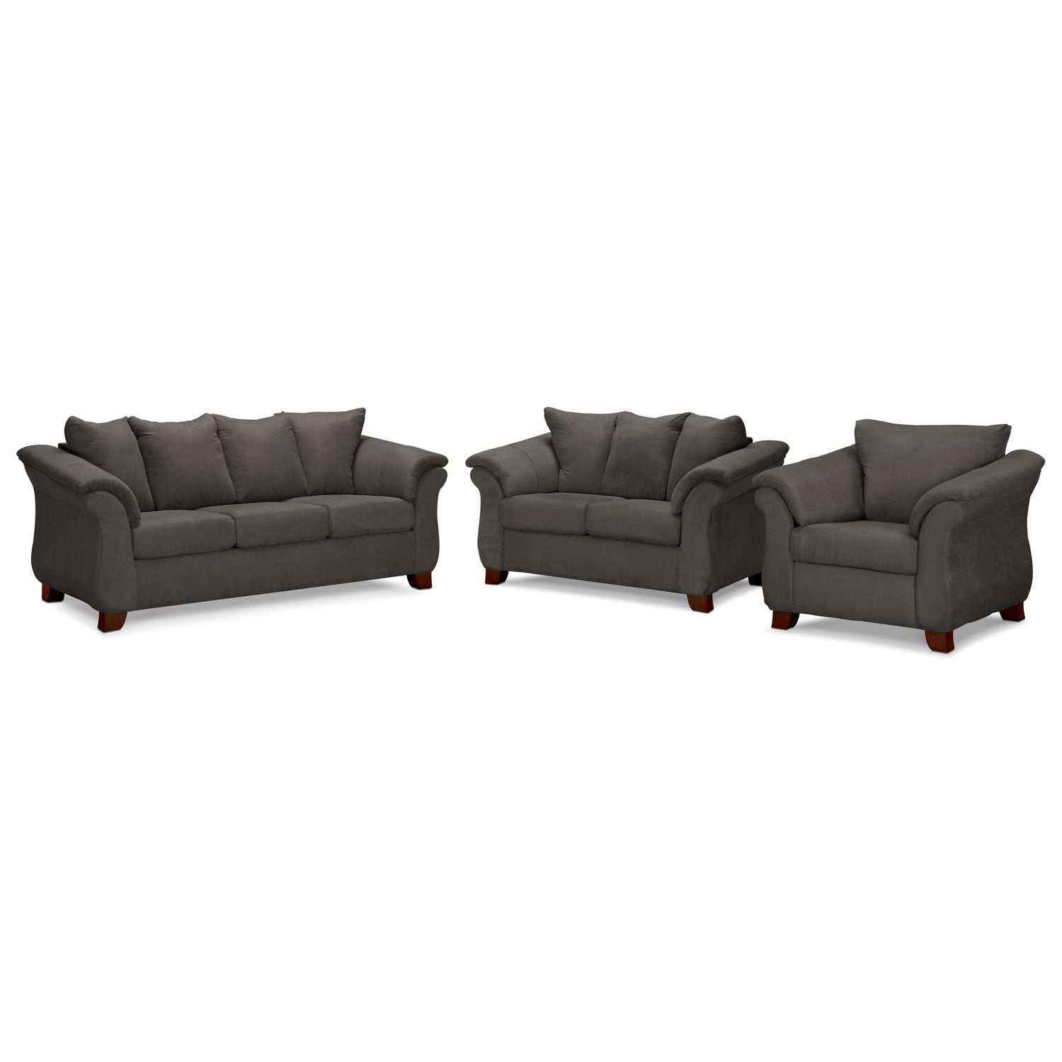 Living Room Furniture - Adrian Graphite 3 Pc. Living Room