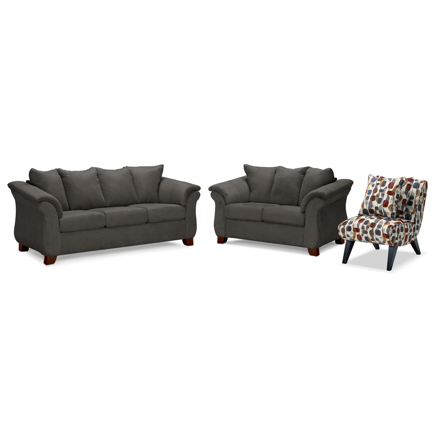 Living Room Furniture - Adrian Graphite 3 Pc. Living Room w/ Accent Chair