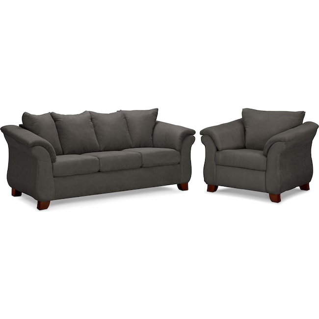 Living Room Furniture - Adrian Sofa and Chair Set - Graphite