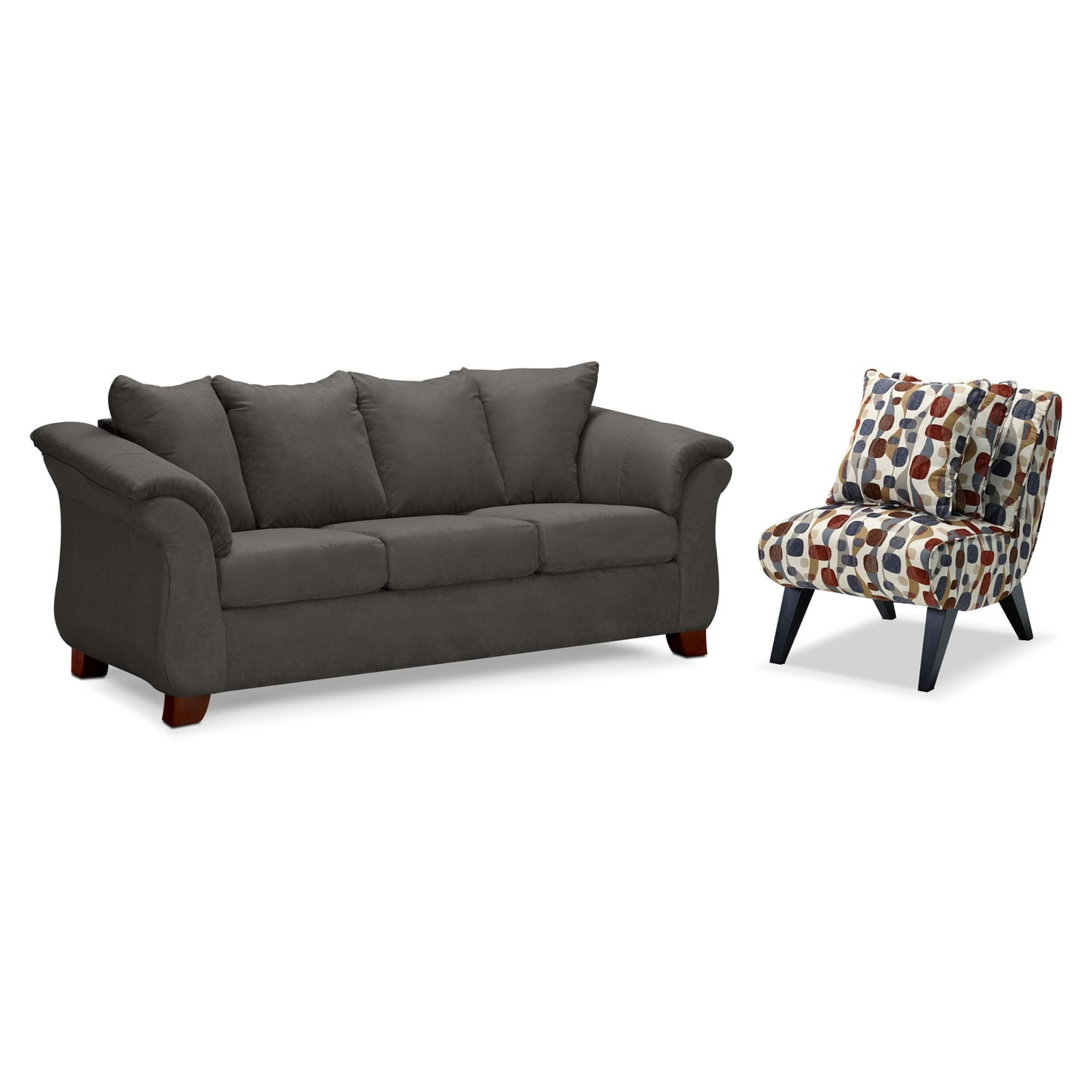 Living Room Furniture - Adrian Graphite 2 Pc. Living Room w/ Accent Chair