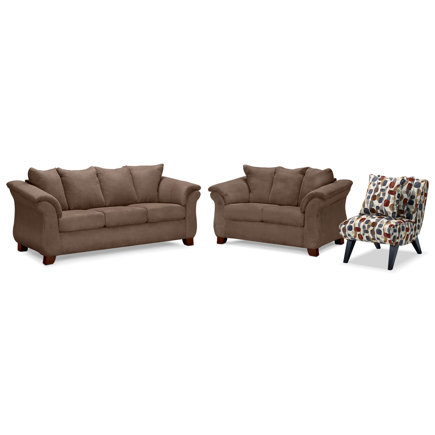 Adrian Sofa, Loveseat and Accent Chair Set - Taupe