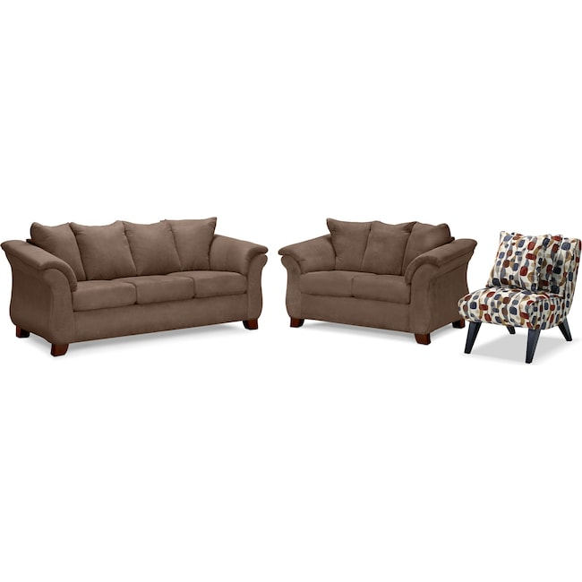 Living Room Furniture - Adrian Sofa, Loveseat and Accent Chair Set - Taupe