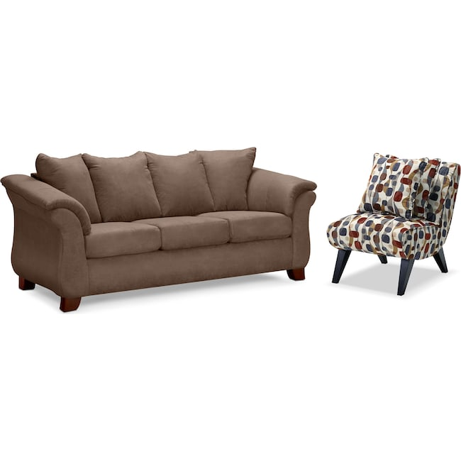 Living Room Furniture - Adrian Sofa and Accent Chair Set - Taupe