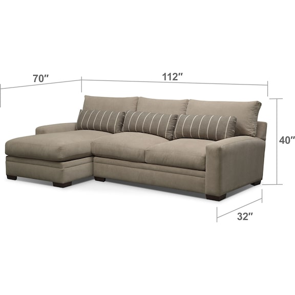 Living Room Furniture - Ventura 2-Piece Left-Facing Sectional - Buff