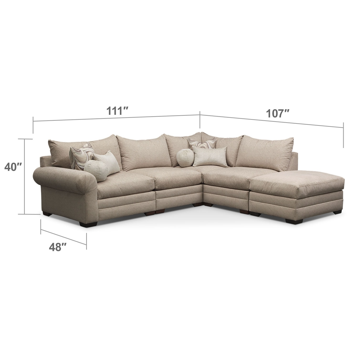 Living Room Furniture - Wilshire 5-Piece Right-Facing Sectional - Cream