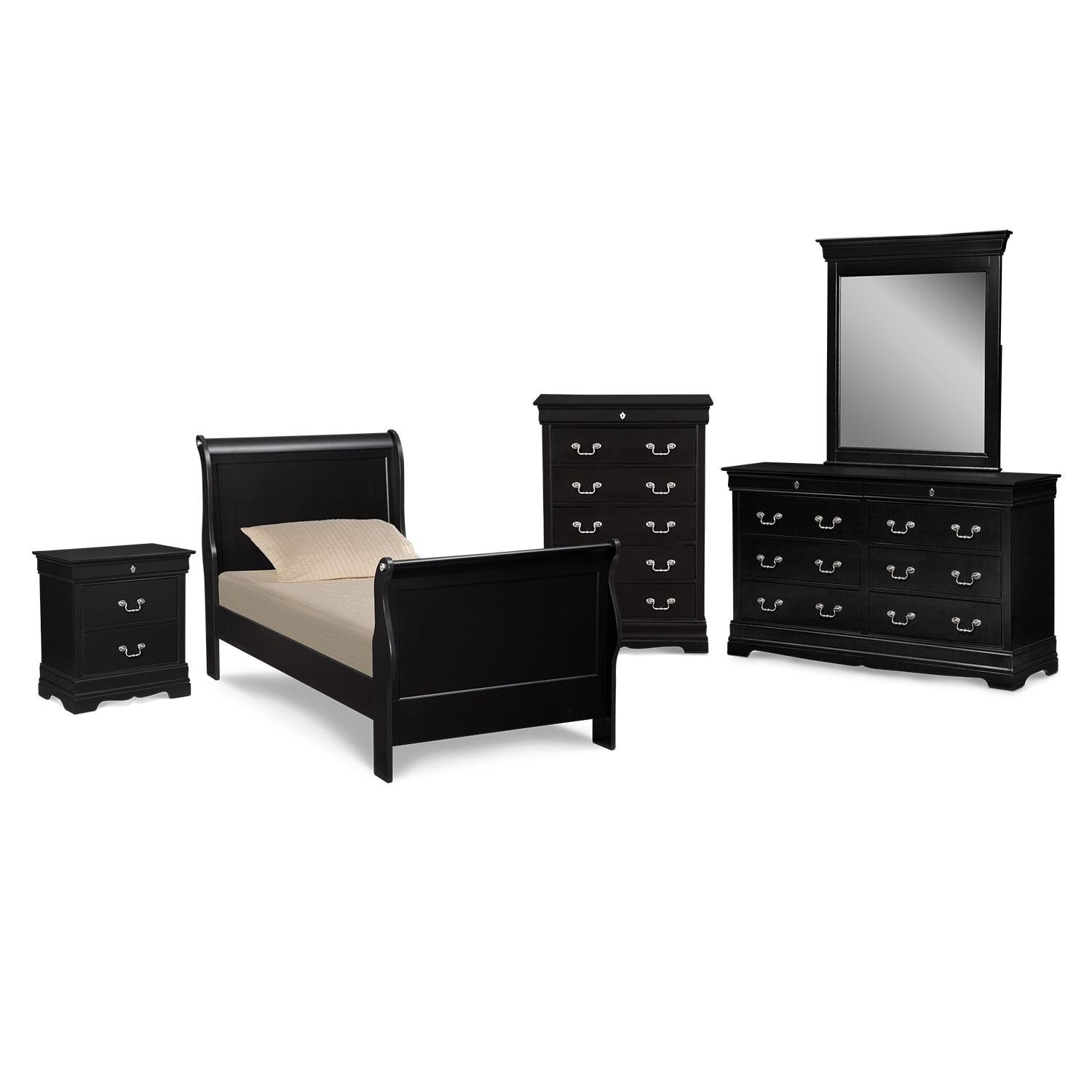 Kids Furniture - Neo Classic Youth 7-Piece Full Bedroom Set- Black