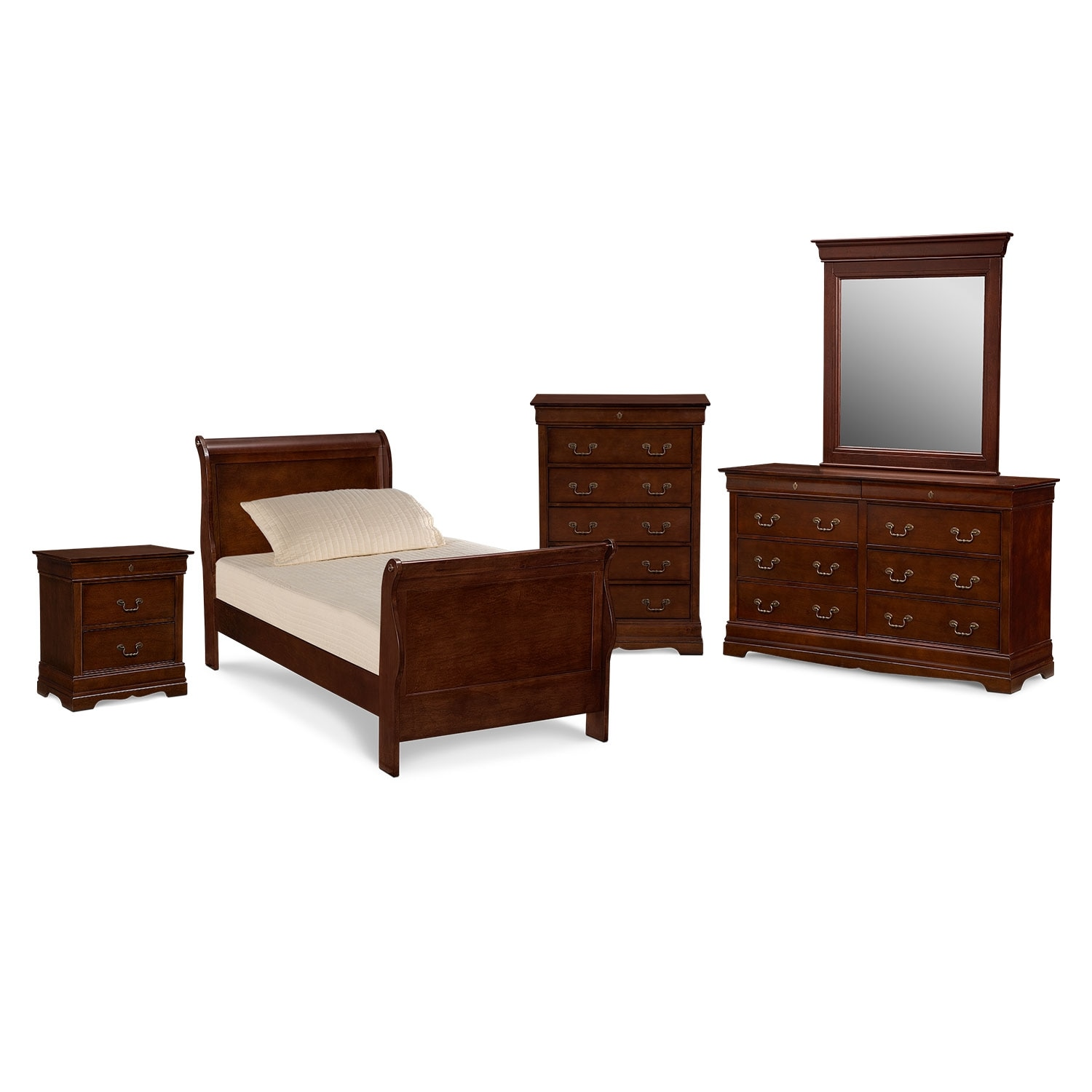 Kids Furniture - Neo Classic Youth 7-Piece Bedroom Set with Chest, Nightstand, Dresser and Mirror