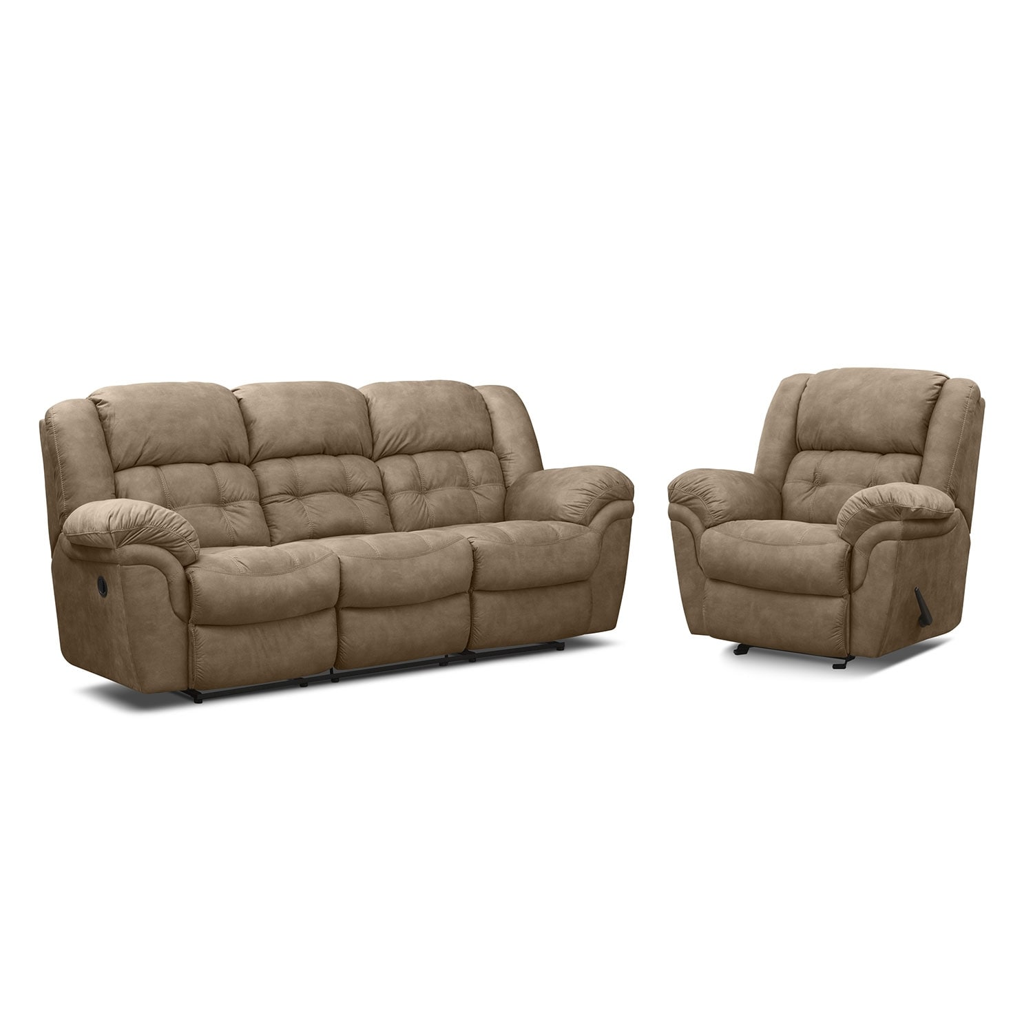 Living Room Furniture - Lancer Pecan II 2 Pc. Power Reclining Living Room w/ Glider Reclin