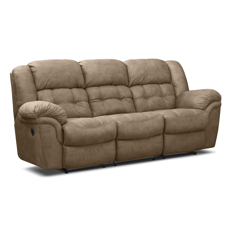 Living Room Furniture - Lancer Manual Reclining Sofa - Pecan