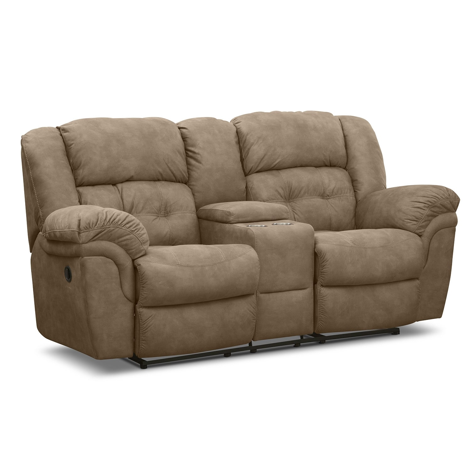 Living Room Furniture - Lancer Pecan Reclining Loveseat with Console