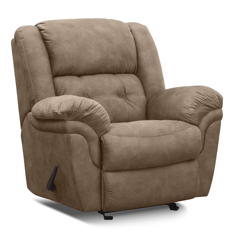 Living Room Furniture - Lancer Pecan Glider Recliner