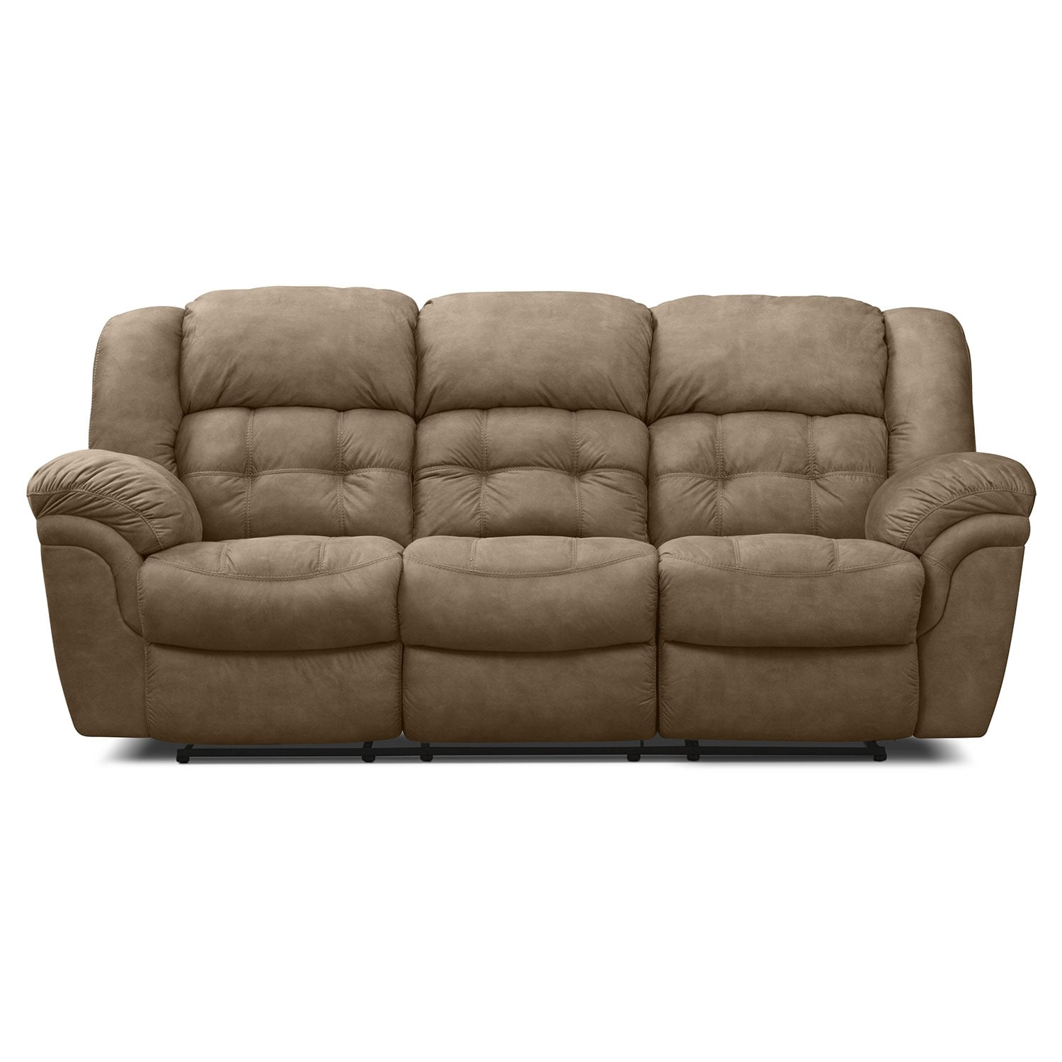 Lancer pecan upholstery reclining sofa american for Signature furniture