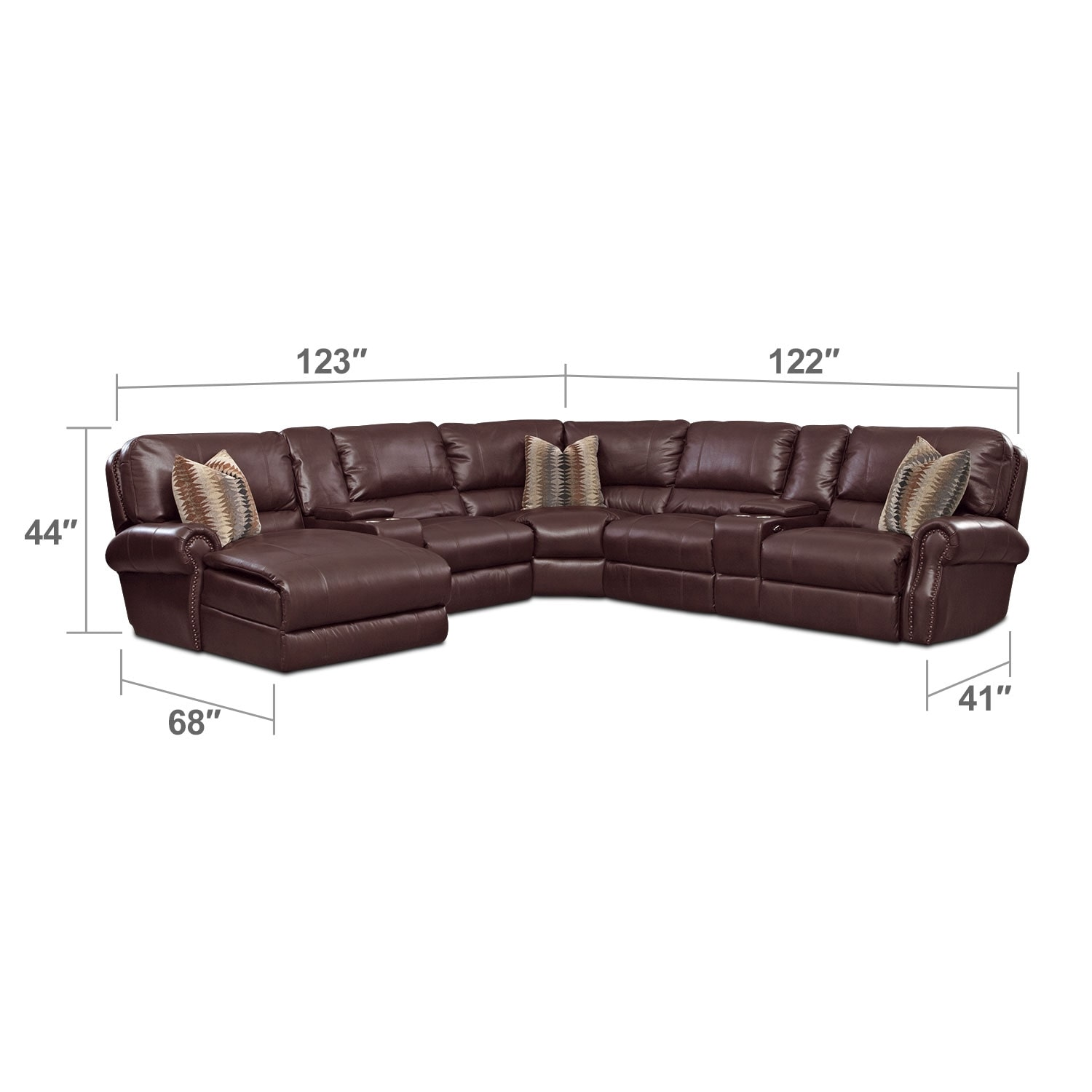 Living Room Furniture - Princeton 5 Pc. Power Reclining Sectional (Reverse)