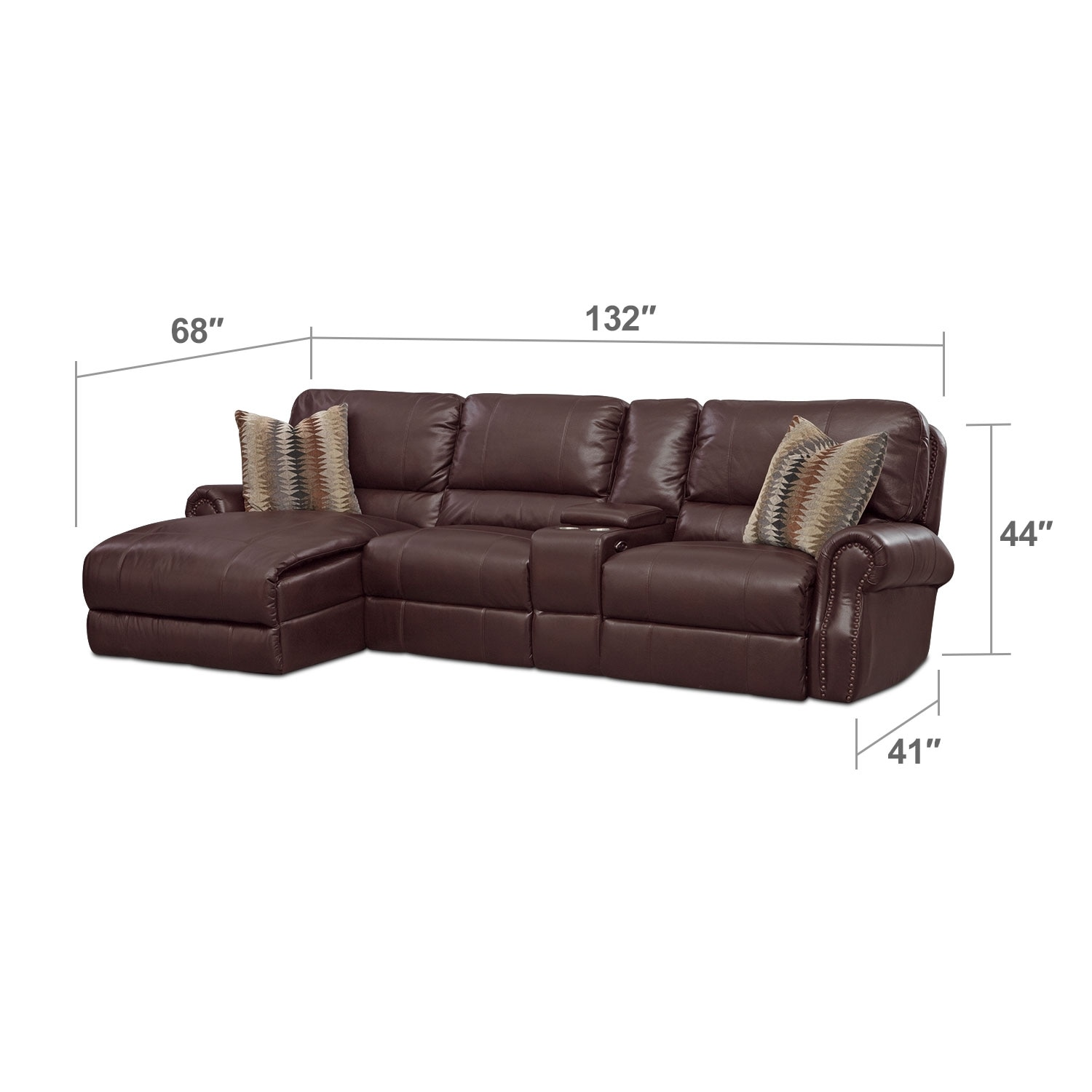 Living Room Furniture - Princeton 2-Piece Left-Facing Power Reclining Chaise Sectional - Brown