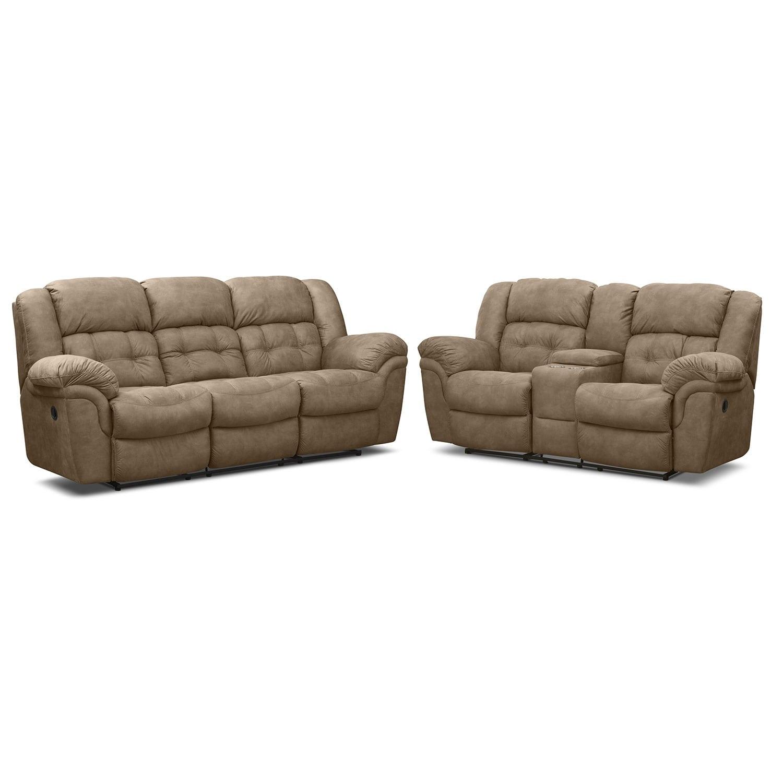 Living Room Furniture - Lancer Manual Reclining Sofa and Manual Reclining Loveseat Set - Pecan