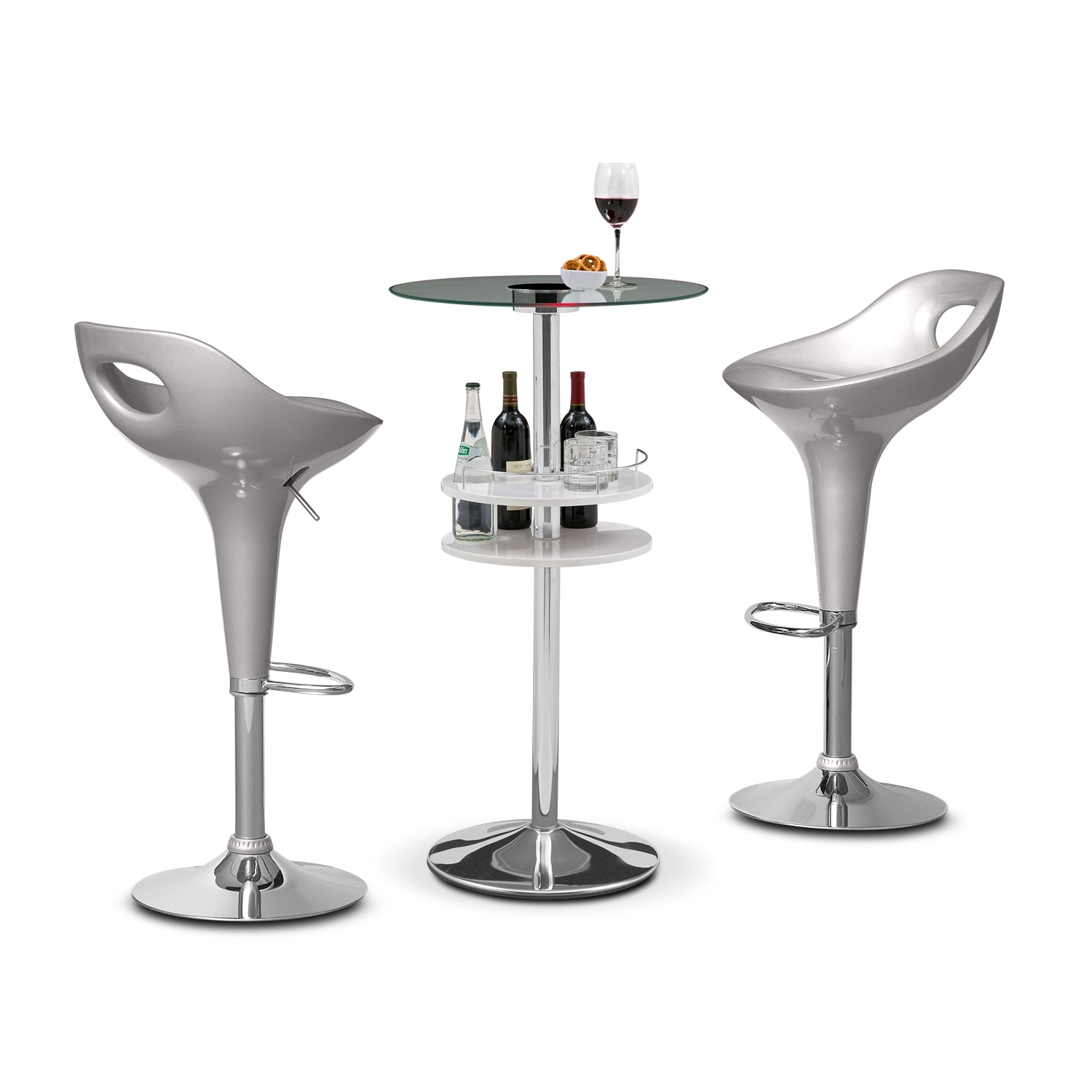 Accent and Occasional Furniture - Reno White Bar and 2 Drake Silver Barstools