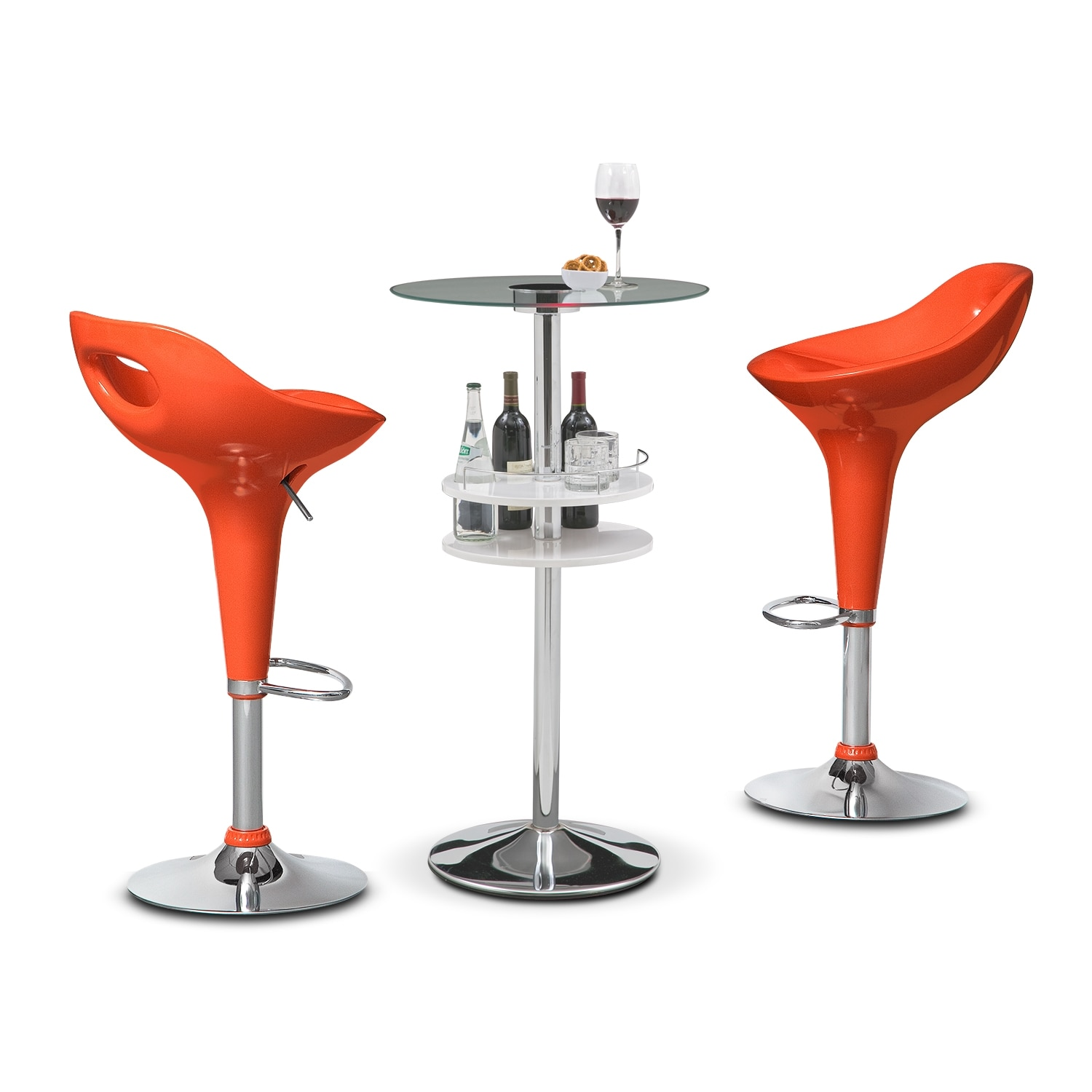 Reno White Bar and 2 Drake Tangerine Barstools