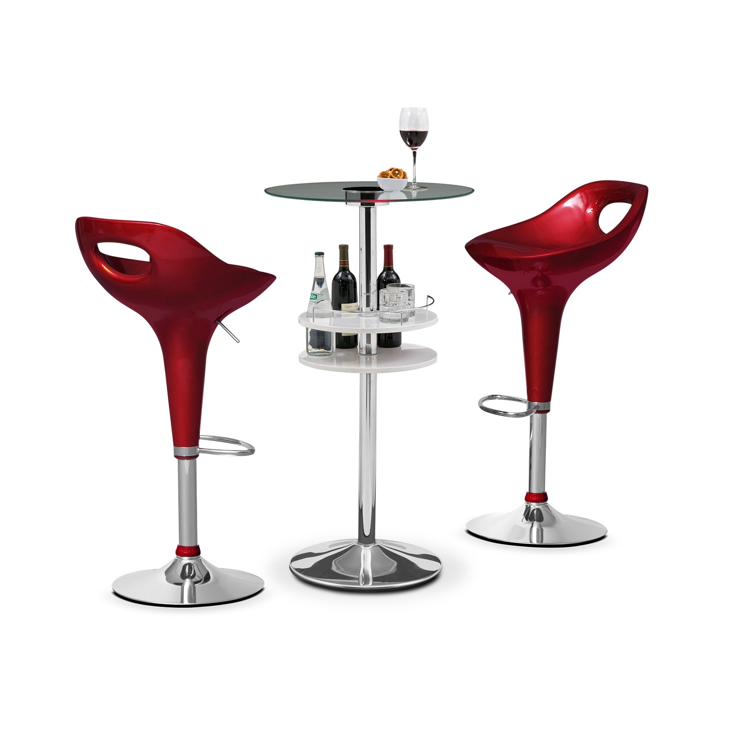 Reno White Bar and 2 Drake Burgundy Barstools