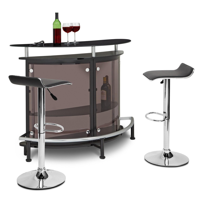 Accent and Occasional Furniture - Vegas Lisbon 3 Pc. Bar Set