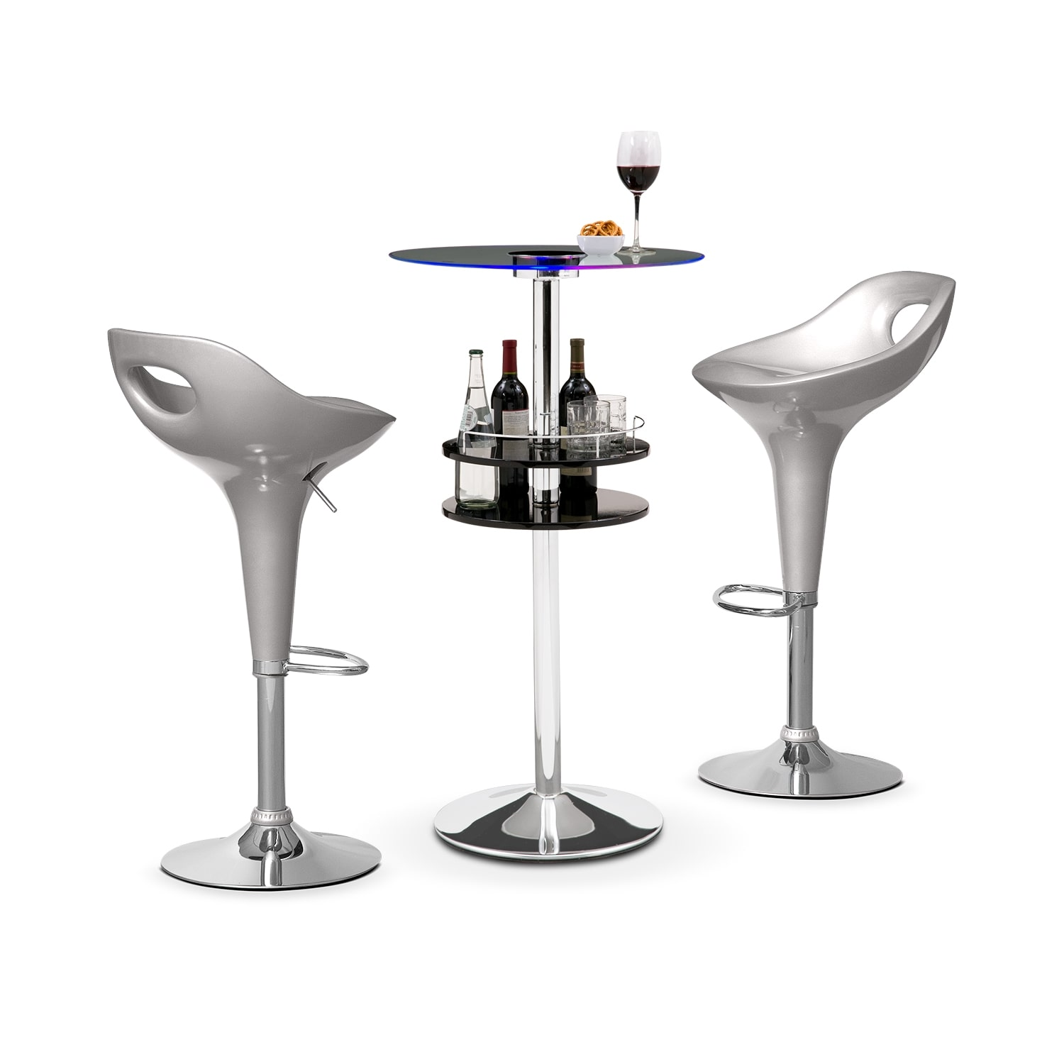 Reno Black Bar and 2 Drake Silver Barstools