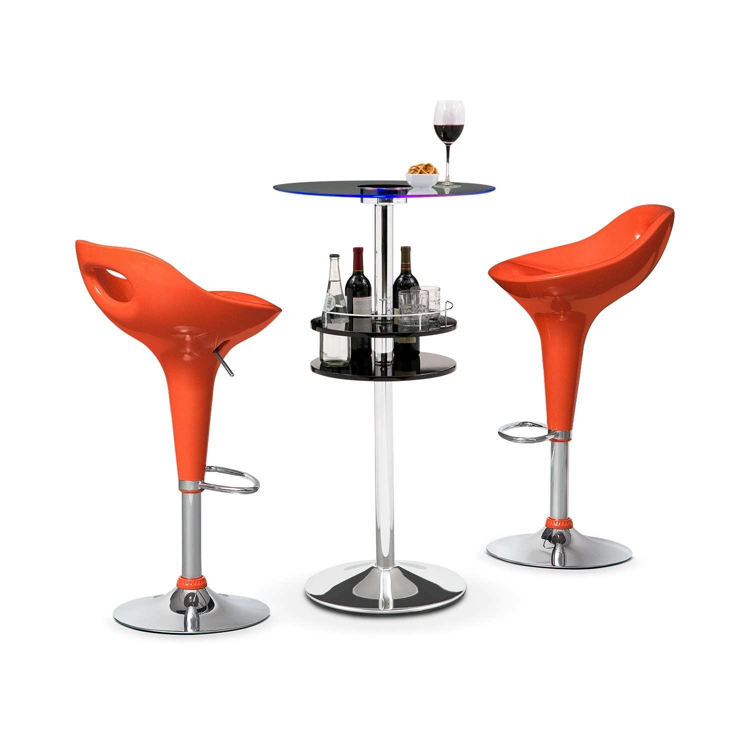 Reno Black Bar and 2 Drake Orange Barstools
