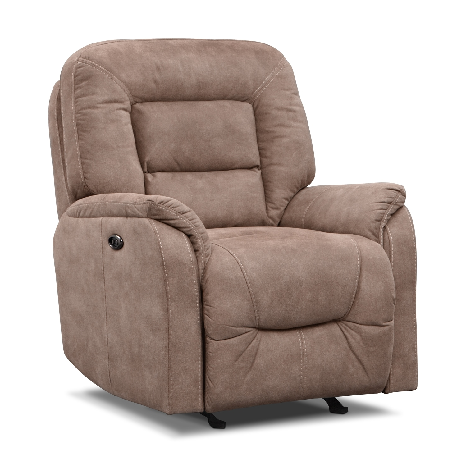 Living Room Furniture - Darien Power Glider Recliner - Taupe
