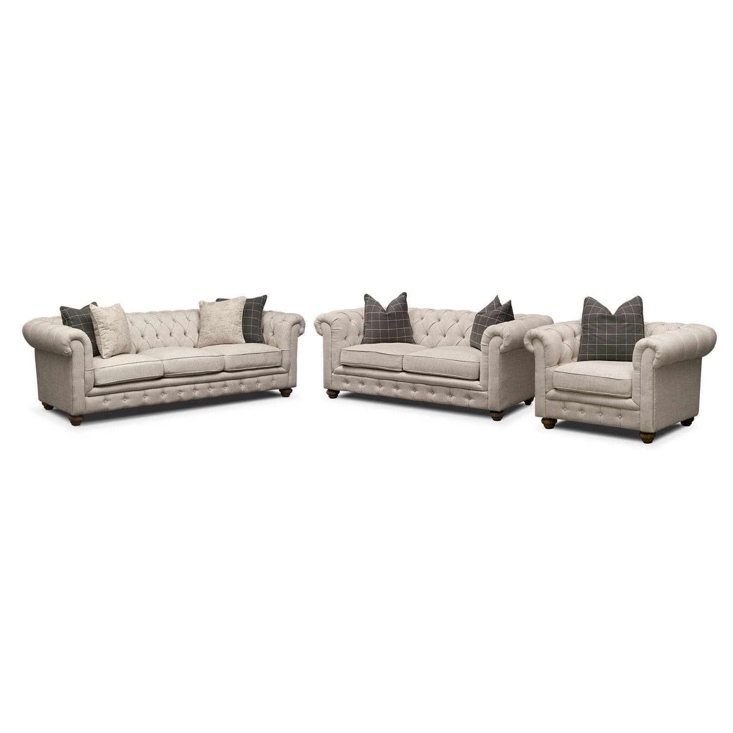 Living Room Furniture - Madeline Sofa, Apartment Sofa and Chair Set - Beige
