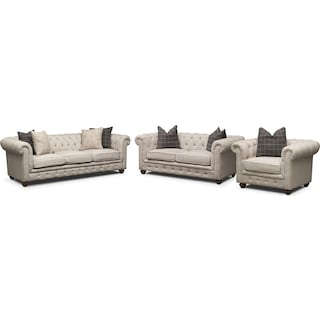 Madeline Sofa, Apartment Sofa and Chair Set - Beige