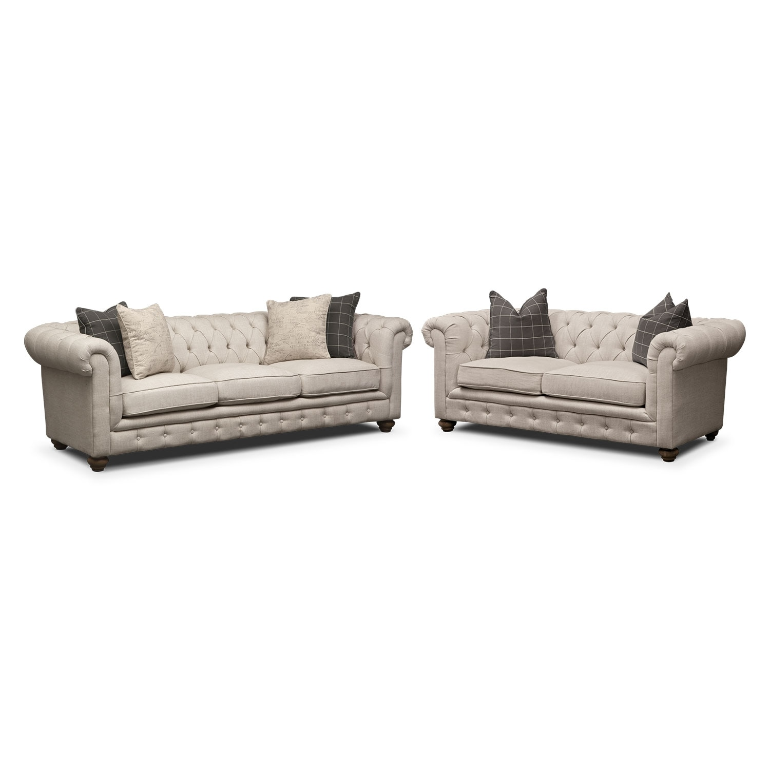 Living Room Furniture - Madeline Sofa and Apartment Sofa Set - Beige