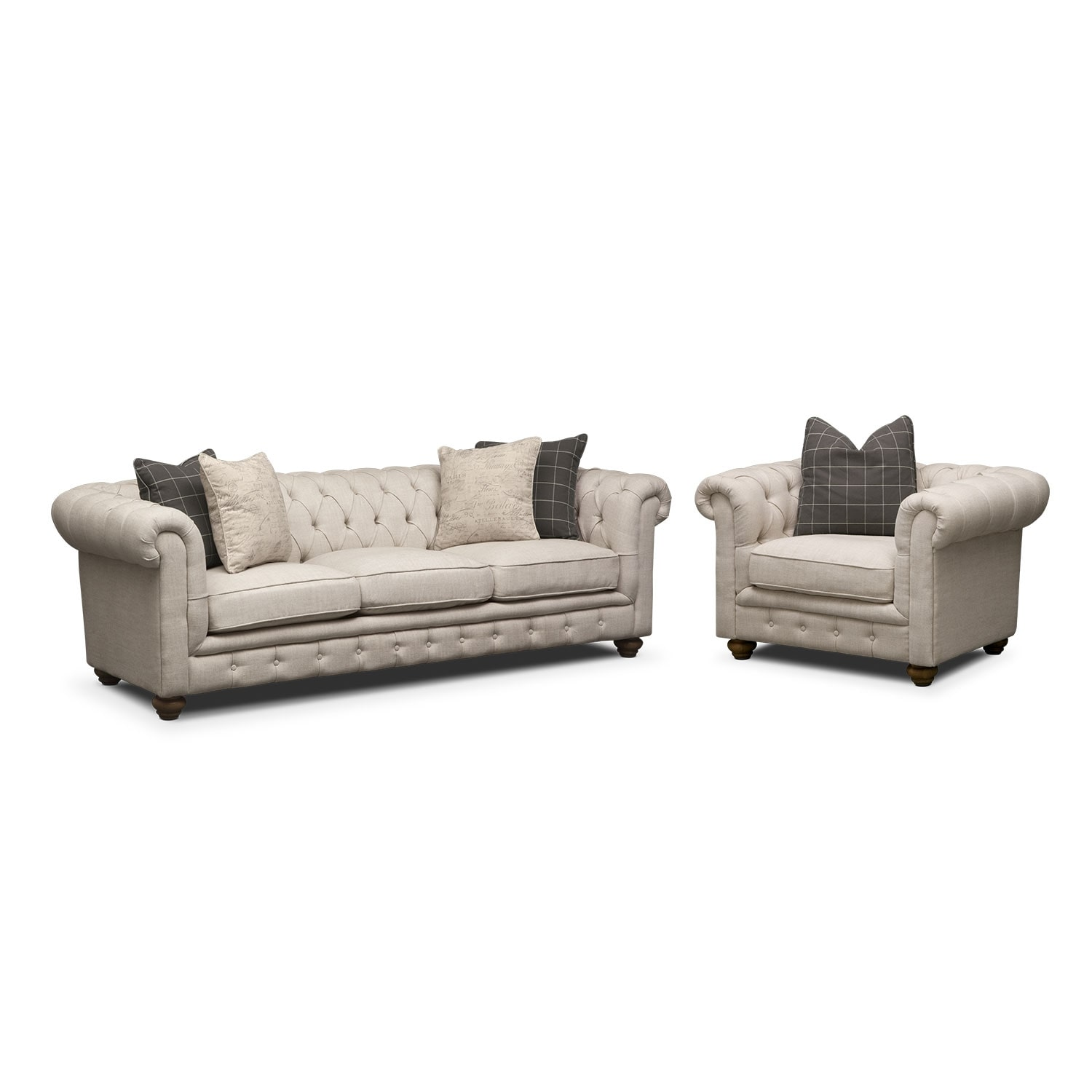 Living Room Furniture - Madeline Sofa and Chair Set - Beige