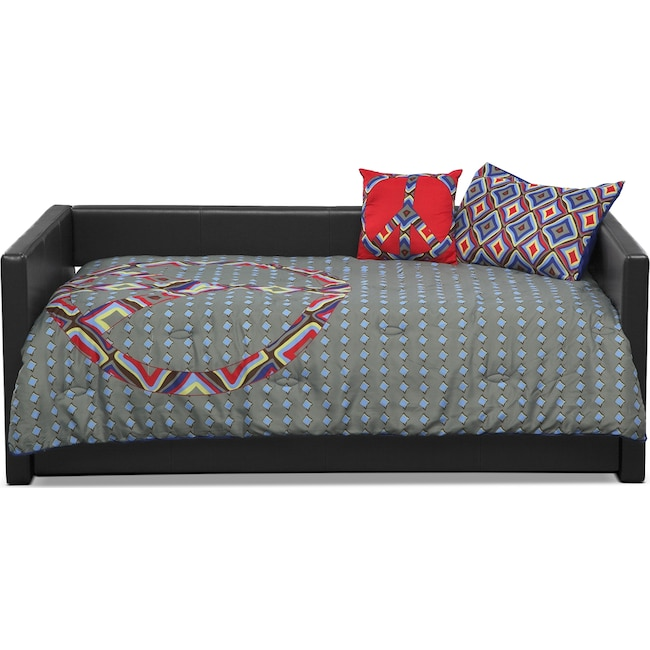 Accent and Occasional Furniture - Peace Sign 3-Piece Twin Comforter Set - Blue and Gray