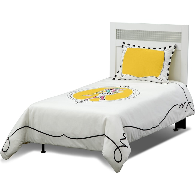 Accent and Occasional Furniture - Kayla 2-Piece Twin Comforter Set - White and Yellow