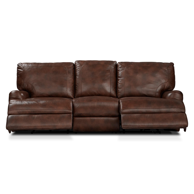 Kingsway Power Reclining Sofa - Brown   American Signature Furniture