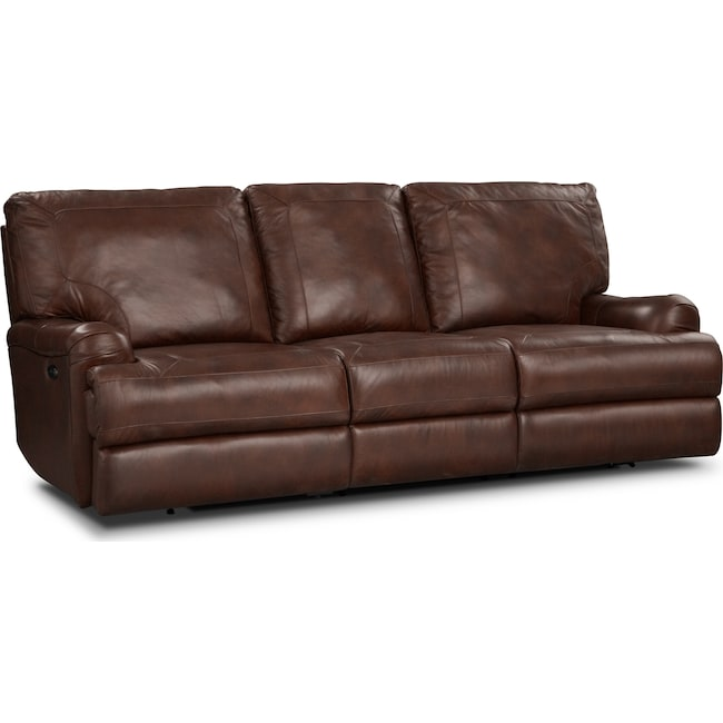 Living Room Furniture - Kingsway Power Reclining Sofa - Brown