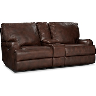 Kingsway Power Reclining Loveseat with Console - Brown