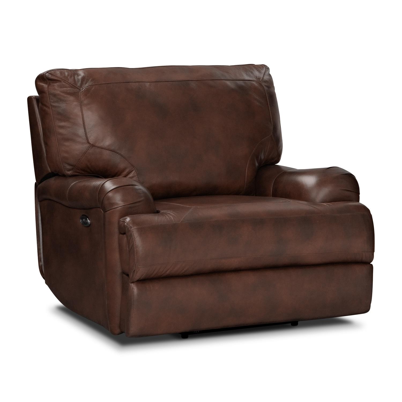 Living Room Furniture - Kingsway Power Recliner - Brown