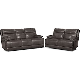 Monaco Power Reclining Sofa and Reclining Loveseat Set - Gray