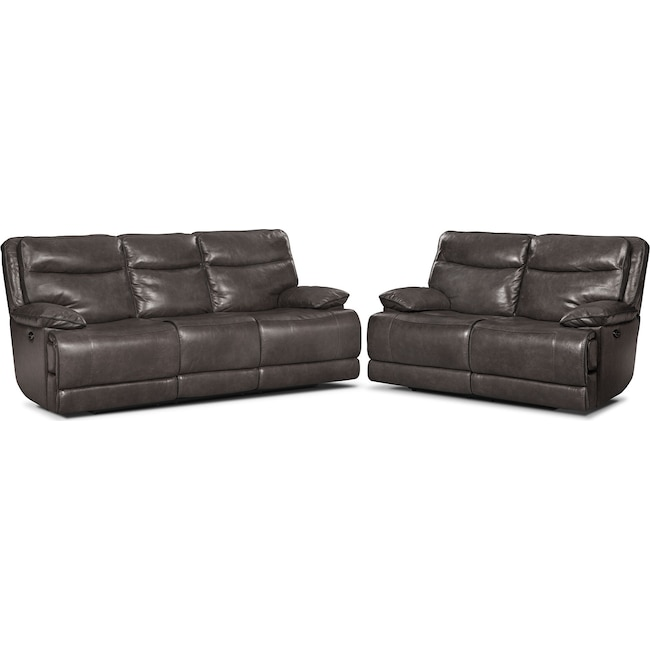 Living Room Furniture - Monaco Power Reclining Sofa and Reclining Loveseat Set - Gray