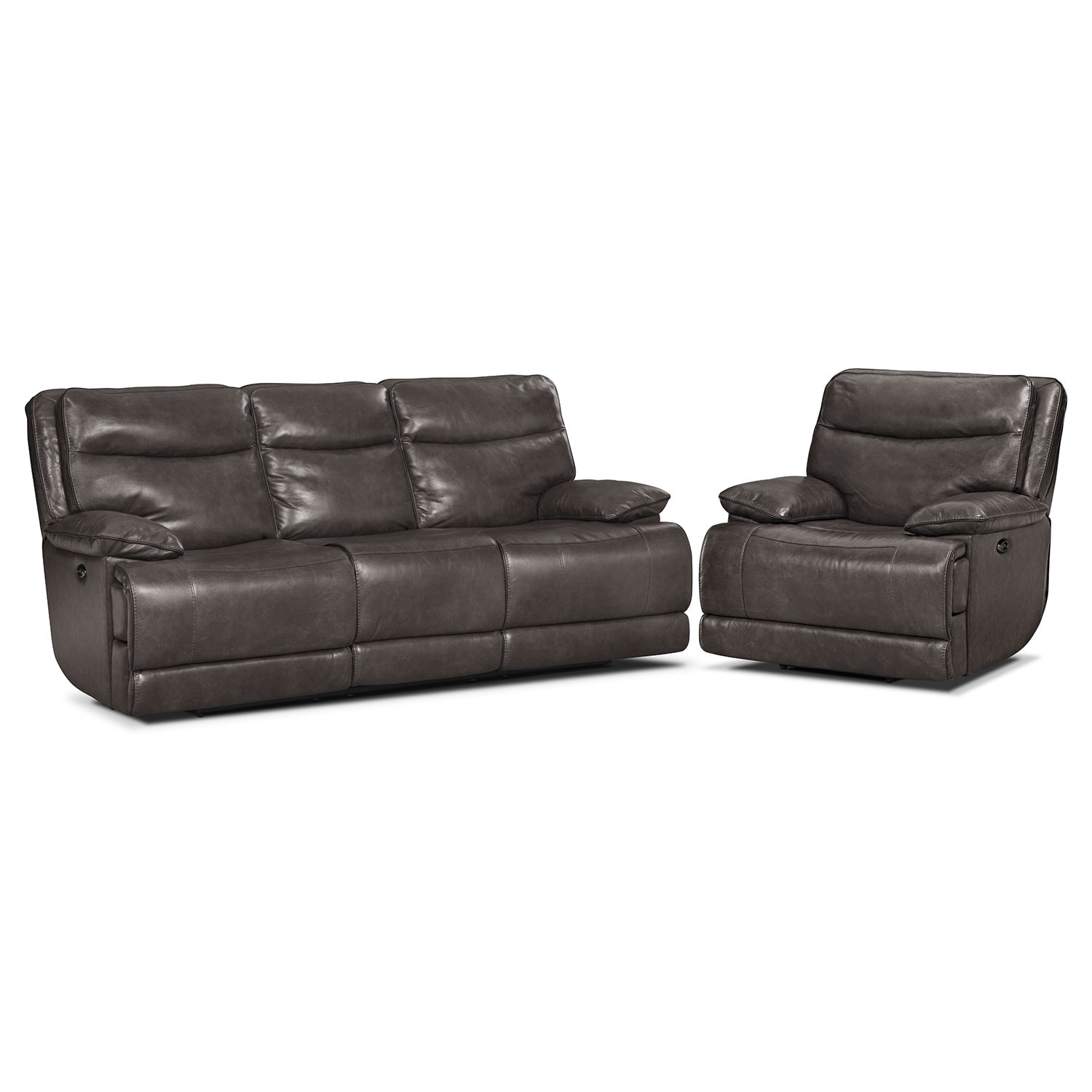 Monaco Power Reclining Sofa and Recliner Set - Gray