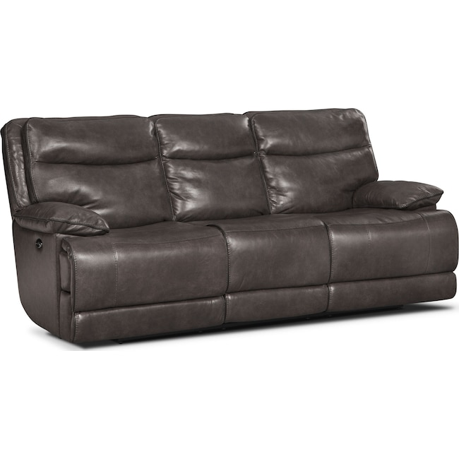 Living Room Furniture - Monaco Power Reclining Sofa - Gray