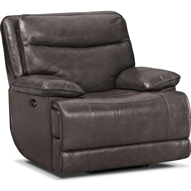 Living Room Furniture - Monaco Power Recliner - Gray