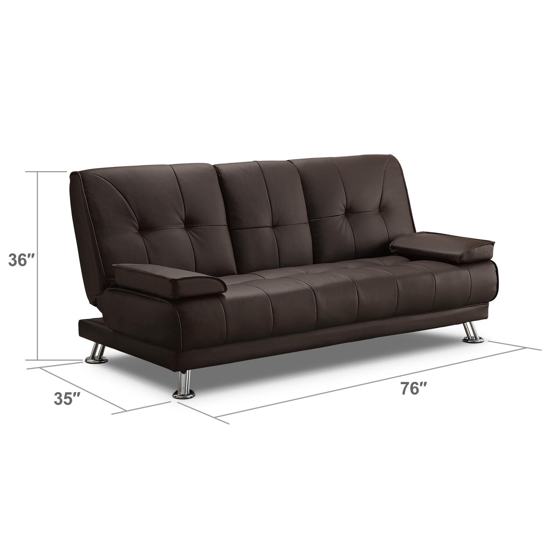 Living Room Furniture - Flash Futon Sofa Bed - Dark Brown