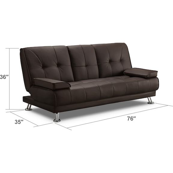 Accent and Occasional Furniture - Flash Futon Sofa Bed - Dark Brown