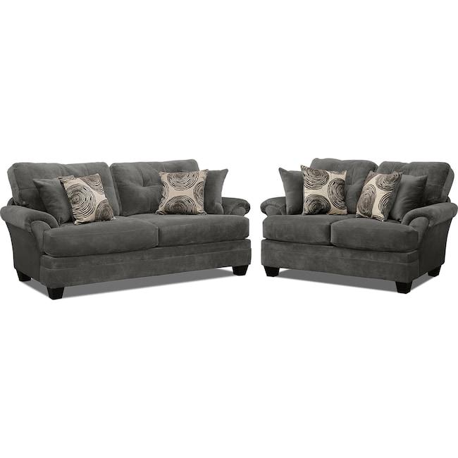 Living Room Furniture - Cordelle Sofa and Loveseat Set - Gray