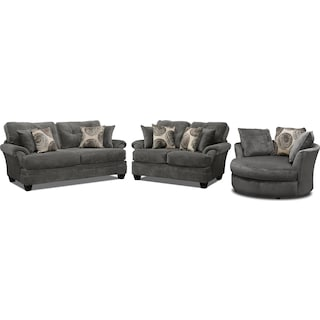 Cordelle Sofa, Loveseat and Swivel Chair Set - Gray