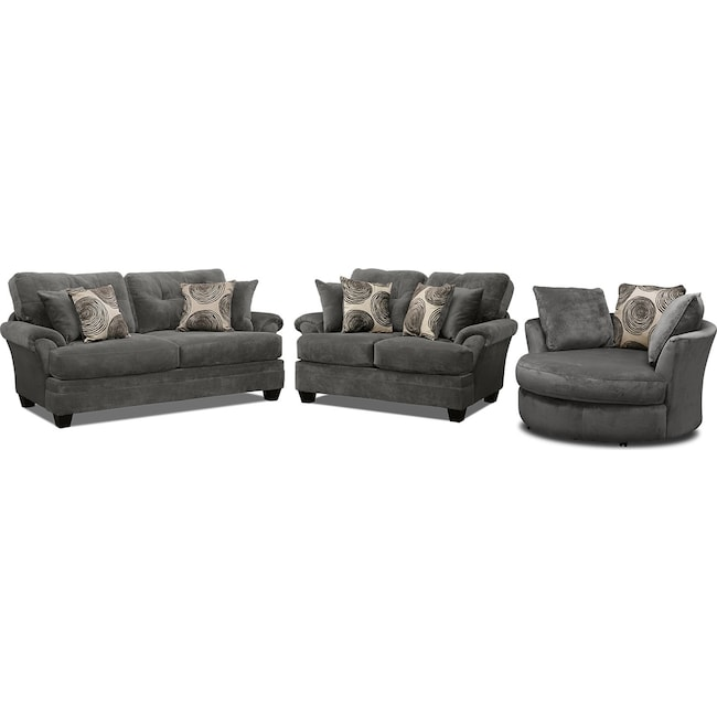 Living Room Furniture - Cordelle Sofa, Loveseat and Swivel Chair Set - Gray