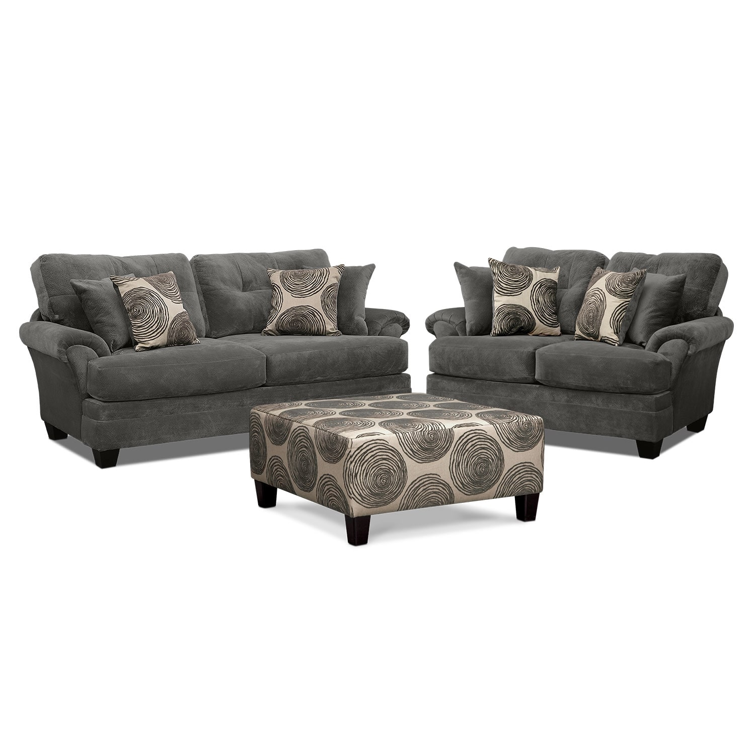 Living Room Furniture - Cordelle Sofa, Loveseat and Cocktail Ottoman Set - Gray