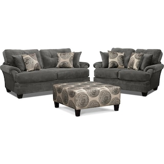 Cordelle Sofa, Loveseat and Cocktail Ottoman Set - Gray